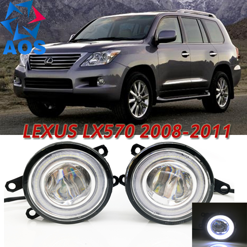 For Lexus LX570 2008-2011 Car Styling LED Angel eyes DRL LED Fog lights Car Daytime Running Lights auto fog lamp with bulbs set auto car usb sd aux adapter audio interface mp3 converter for lexus lx 570 2008 2011 fits select oem radios