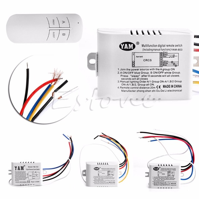 220V 1/2/3 Ways Wireless ON/OFF Lamp Remote Control Switch Receiver ...