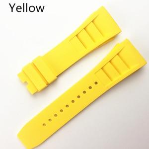 Image 5 - MERJUST 20mm Rood Zwart Groen Grijs Oranje Geel Zachte Siliconen Rubber Horlogeband Voor Richard Horloge Mille RM011 Band Armband
