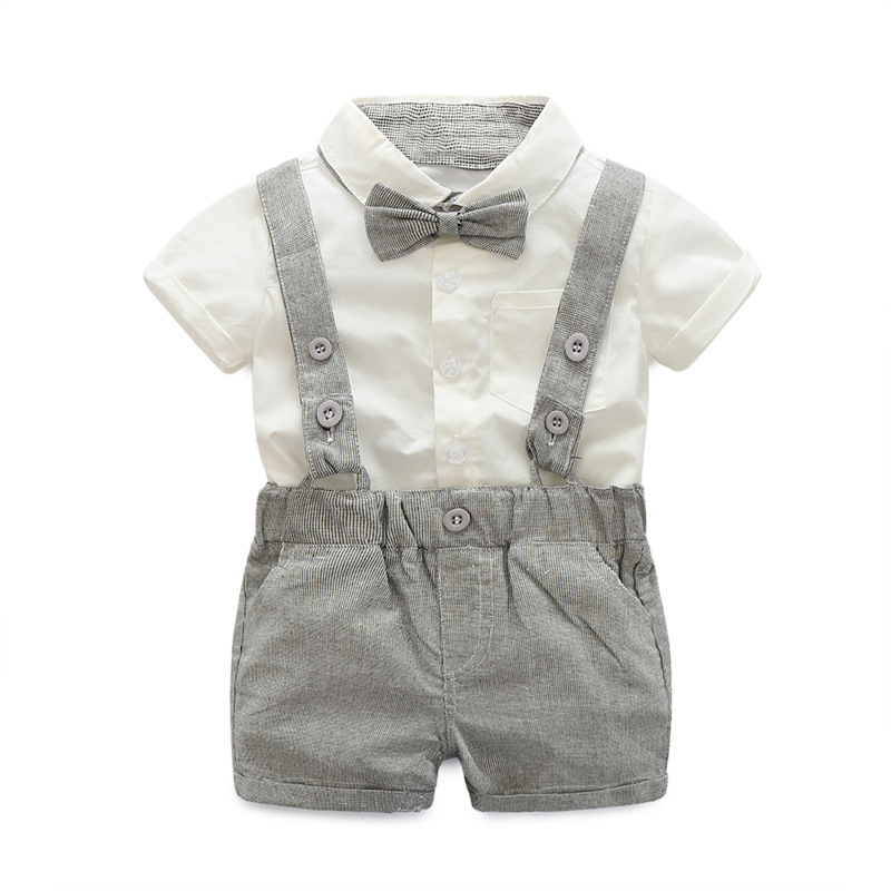 Baby Boy Sets Formal Toddler Clothes Fashion Tie + Short Shirt + Overalls Boys Clothing Summer Boy Party Birthday Costume 0-24M
