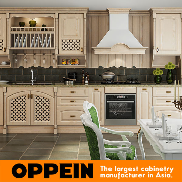 OPPEIN Wood Grain Solid Wood Modular Kitchen Furniture(OP12-L001)