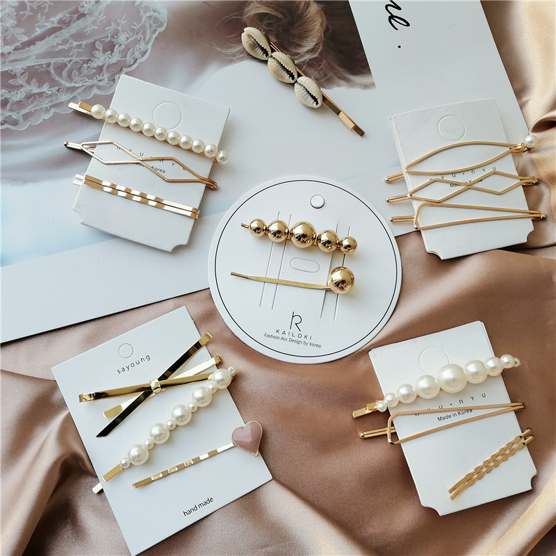 Korea Girls Hairpins Barrette Hairgrip Bobby Pin Pearl Metal Hairclips Women Hair Clip Hairpin Hair Accessories Dropship New