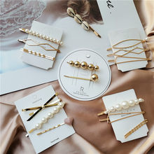 Korea Girls Hairpins Barrette Hairgrip Bobby Pin Pearl Metal Hairclips Women Hair Clip Hairpin Hair Accessories Dropship New(China)