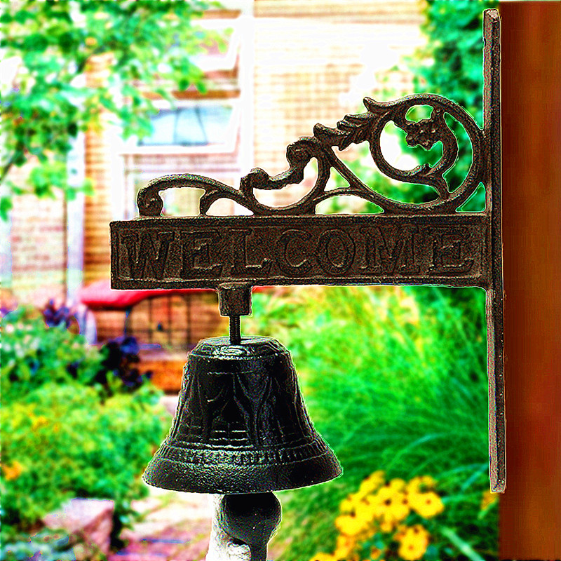 Nordic Style Vintage Brown Metal Iron Door Bell Wall Mounted Welcome Cast Wireless Metel DoorBell Porch Garden Decoration