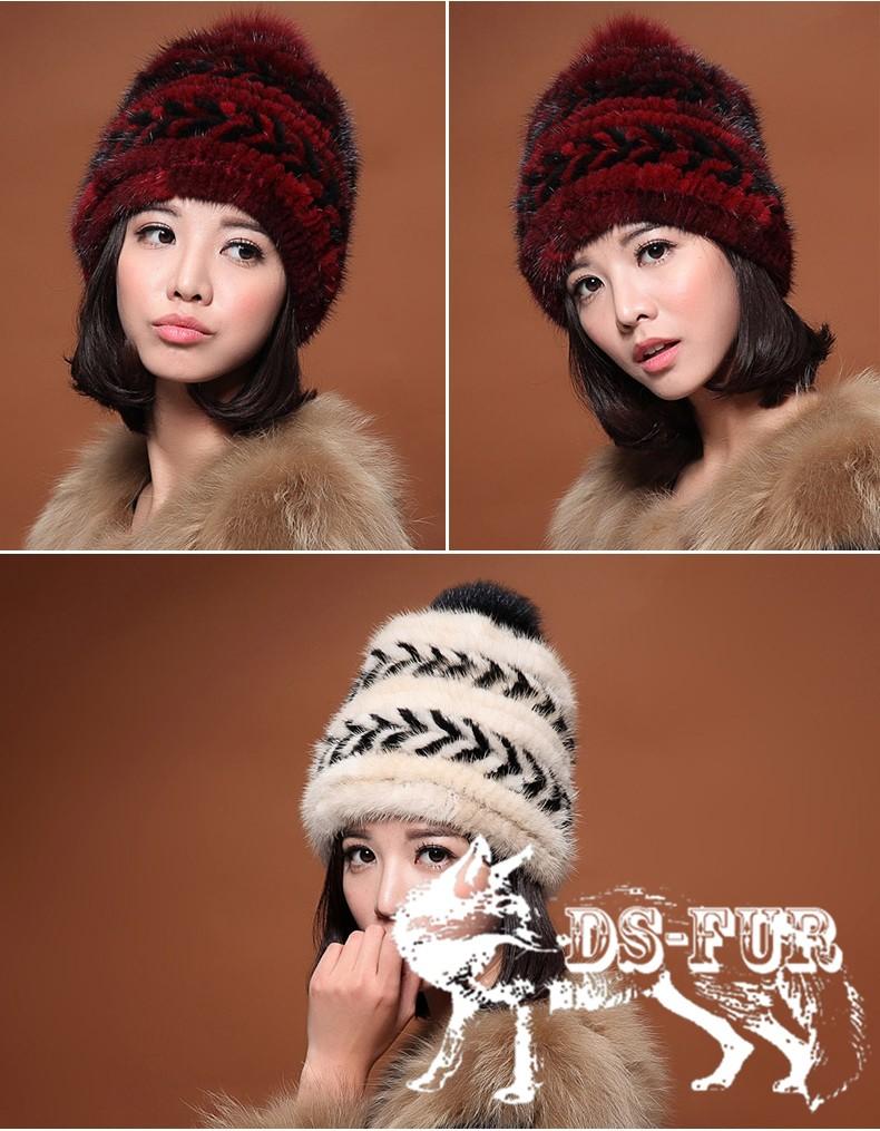 Real mink fur hat double arrow horizontal stripes 05