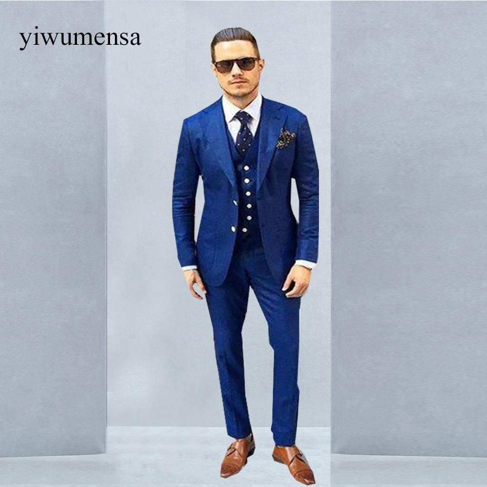 2018 Latest Coat Pant Designs Royal blue Men Suit Prom Tuxedo Slim ...