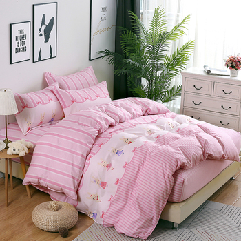 New 100% cotton pink stripe cartoon Bedding Sets fitted Sheet tiwn queen King Size Bedclothes Duvet Cover pillowcase home textie