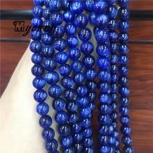 цена Full Strand Smooth Round Genuine kyanite Loose Beads,Natural Gems Stone Beads For DIY Jewelry Making  MY2082 онлайн в 2017 году