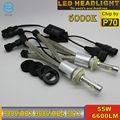 Ossen P70 9005 HB3 H10 Faros LED Bombillas Super White 5000 K 110 w 13200lm XHP-70 Chips Sin Ventilador Luz Antiniebla Head Light Kits H4 H7 H8