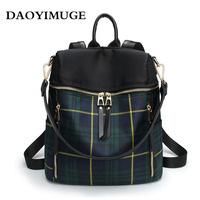 The new 2018 women's backpack plaid design women's backpack fashion waterproof backpack