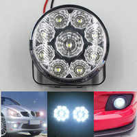 9LED Round Daytime Running Light 9SMD LED Driving Running Light DRL AUTO Car Fog Lamp Headlight
