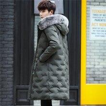 2a39b1468fa89 Nowe zimowe męskie Slim Fit długi płaszcz wyściełane ciepła ocieplana kurtka  mężczyzna futra prosto z kapturem