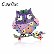 Cring CoCo 4 Color Bird Brooch Pins Enamel Hard Metal Up Animal Lover Gifts Cute Jewelry