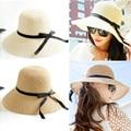 Солнце шляпа женщины в лето складной соломенные шляпы для женщины пляж головные уборы 2 цвета