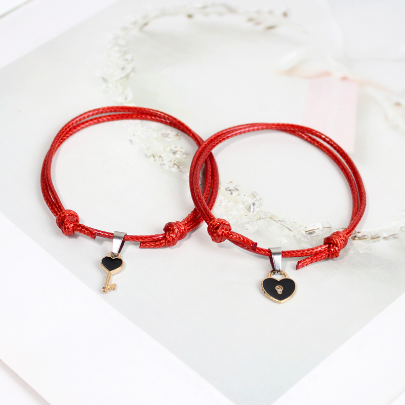 2pcs/pair Couple Bracelet For Lovers Wax Rope Lucky Red Braslets Creative Lock Key Paired Brazalete Friendship BFF Braclet Gift(China)