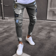 Top quality 2019 Fashion Casual Little badge Patches jeans men's knee hole zipper foot hole men stretch feet pants men street style narrow feet hole cat s whisker embellished zipper fly fitted jeans for men