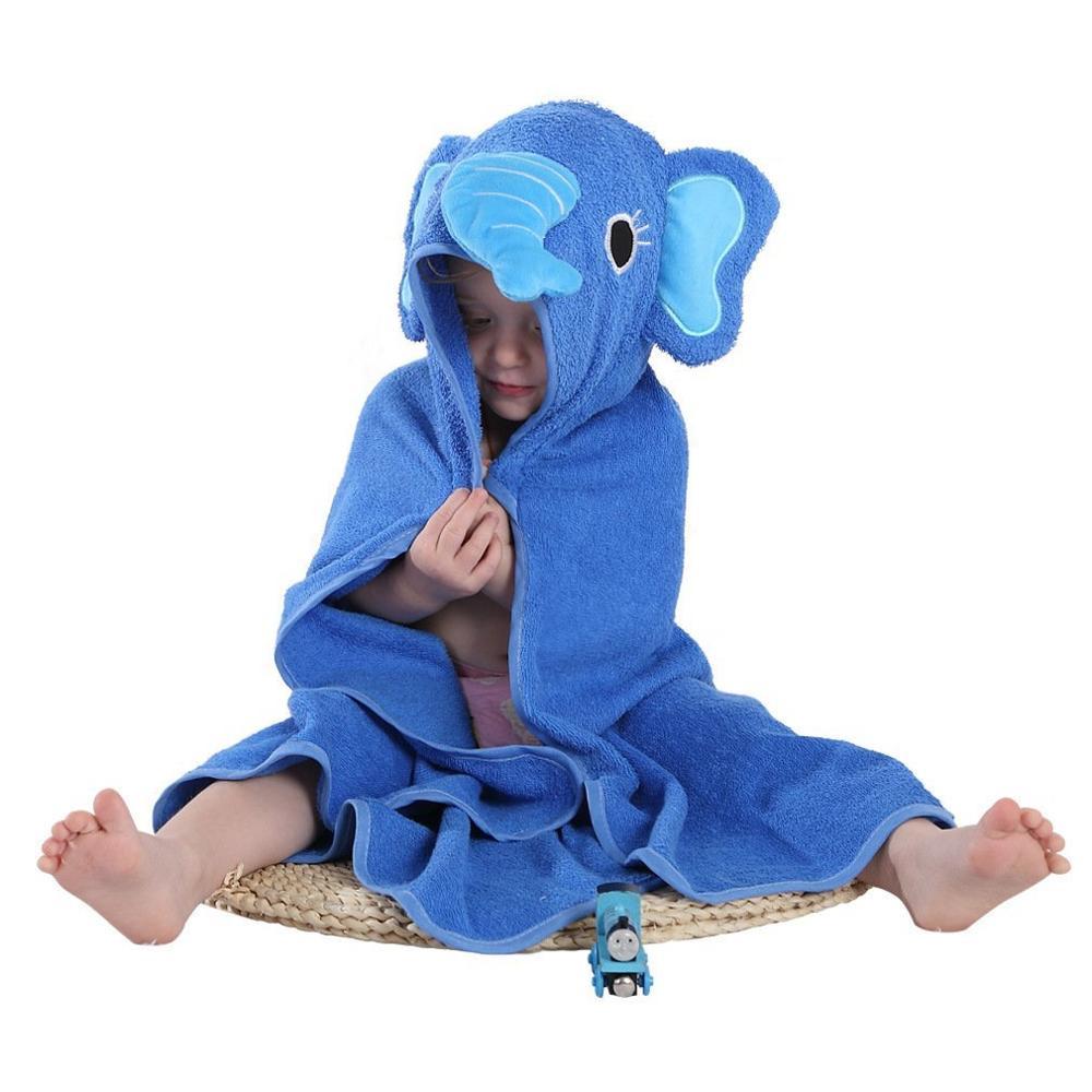 Детское махровое полотенце с капюшоном и изображением животных, халат с изображением животных для малышей, синий От 0 до 6 лет - Цвет: elephant