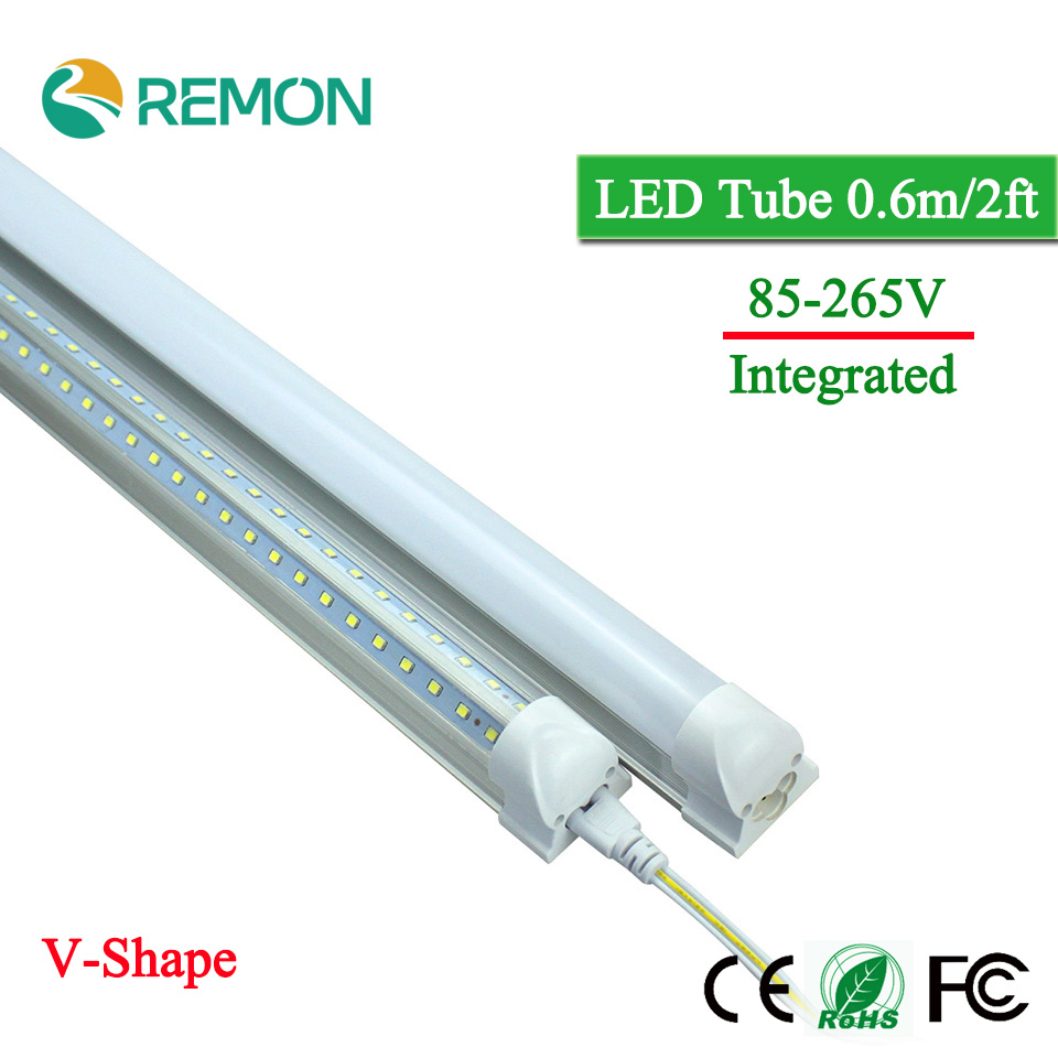 LED Bulbs Tubes T8 600mm 20W V-Shape 2 Feet Led Integrated Tube Light 2FT AC85-265V 96LED SMD2835 270 Degree Super Bright 2000lm new arrivals baja new suspension arm set ts h85220 for baja parts with free shipping