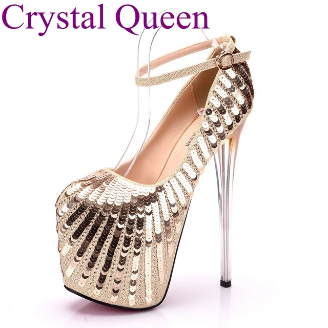 b423aa4ec 19CM women high heels shoes pumps Ankle Strap Closed Toe Platforms High  Heels 19cm Platform Gold Bling pumps sexy party heels