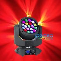Alta Qualidade 19x15 W DMX Moving Head DJ Americano Abelha Olho iluminação rgbw 4in1 led zoom vortex lavagem móvel cabeça do partido luz de discoteca