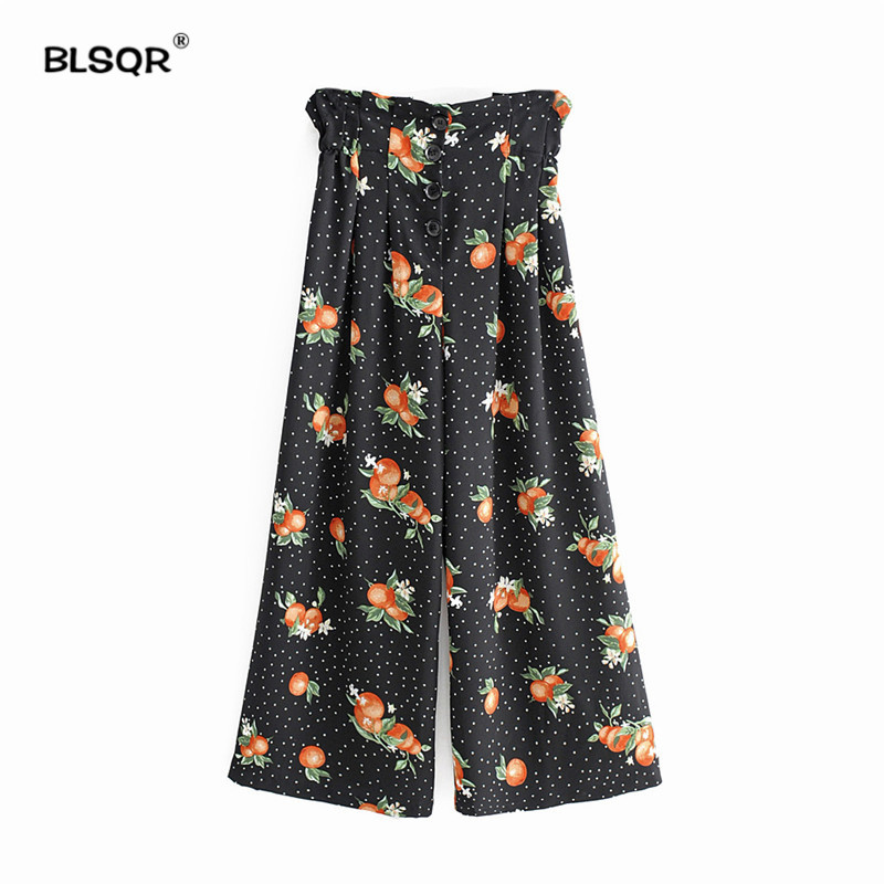 Women Dot Fruit Print Black   Wide     Leg     Pants   Loose Elastic Waist Buttons Design Ladies Casual Long Length Trousers