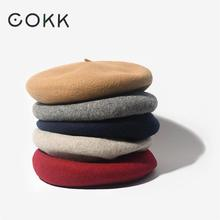 COKK Wool Beret Female Winter Hats For Women Flat Cap Knit 100% Cashmere Hats Lady Girl Berets Hat Bone Female Tocas Painter Hat(China)