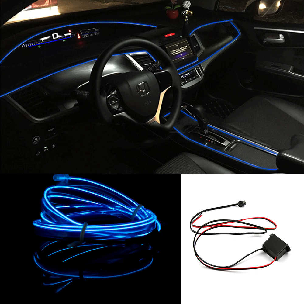 hight resolution of dance party car decor light flexible el wire blue lamps rope tube led strip with dc12v