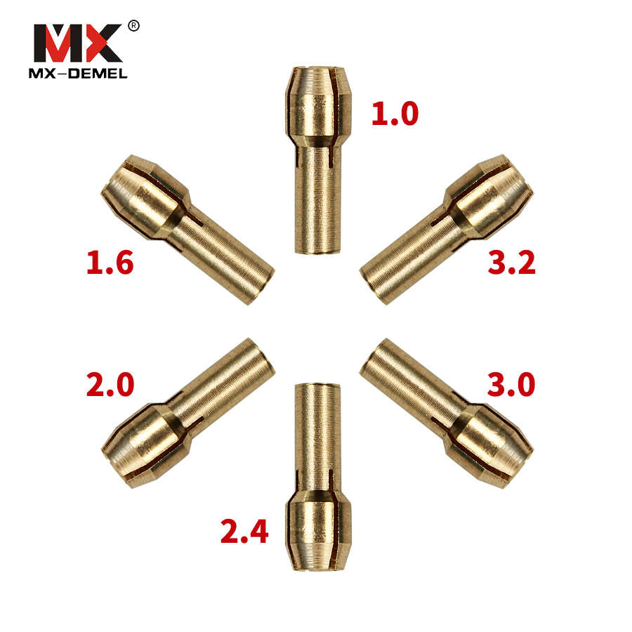 6Pcs 1.0/1.6//2.0/2.4/3.0/3.2mm Mini Drill Brass Collet Chuck For Dremel Rotary Tool Dremel Power Tools Accessories