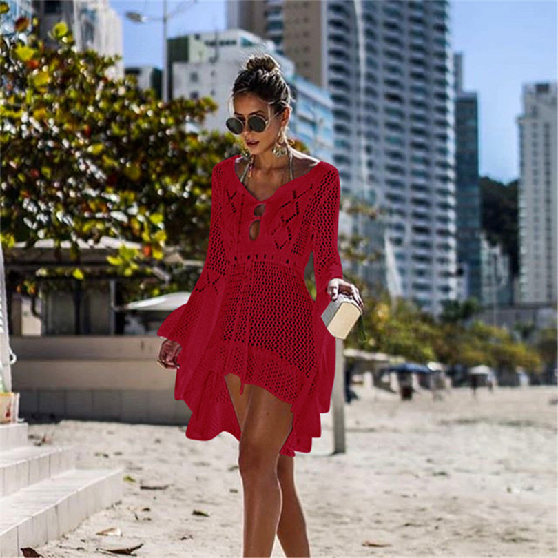 Pareo Beach Cover Up Dress Women Tunic Summer Knitted Crochet Long Sleeve Bikini Swimsuit Outlet Mesh Coverups Skirt