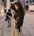 2016 autumn winter coat leather clothing female short design slim leather jacket women motorcycle clothing outerwear