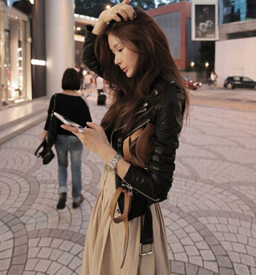2019 autumn winter coat   leather   clothing female short design slim   leather   jacket women motorcycle clothing outerwear