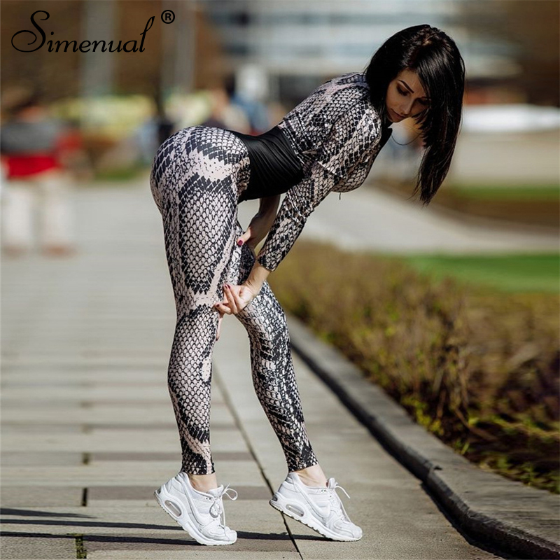 Simenual Snake print body overalls fashion 2018 winter bandage women's jumpsuits long pants serpentine patchwork rompers sexy