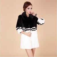 Japanese Fashion Long Faux Mink Fur Coat Winter Women Fur Jacket Overcoat Black White color Clothing Winter Warm Slim Fur Coat