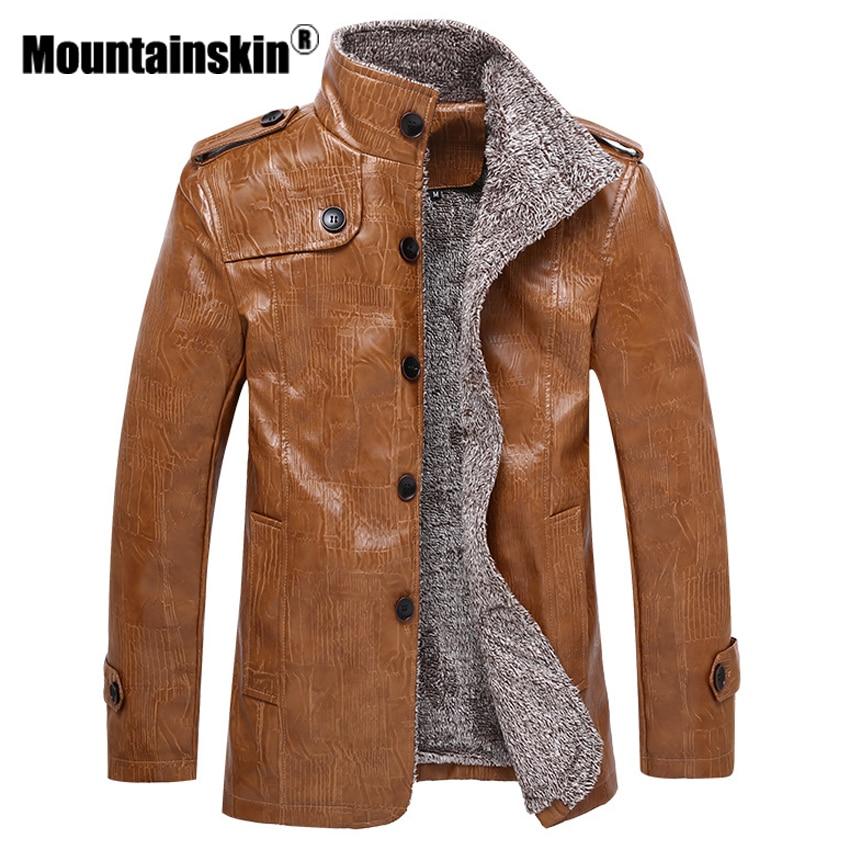 Mountainskin Winter Men's Leather Jackets 7XL 8XL Stand Collar Long Coats Men Windbreaker Fleece PU Leather Male Jacket SA375