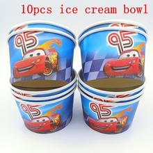 10pcs/lot Disney Lightning Mcqueen Theme Ice Cream Cups Baby Shower Party Supplies Bowl Kids Birthday Decoration