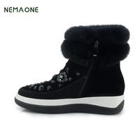 NEMAONE Top Quality Genuine Sheepskin Leather Snow Boots For Women Waterproof Winter Boots 100 Natural Fur
