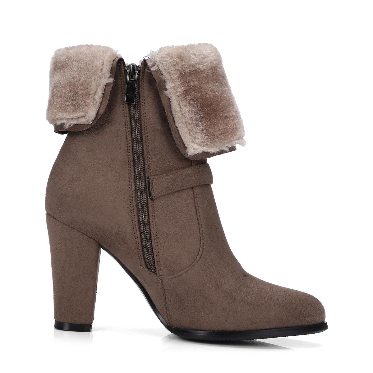 4384e3d2552a NEMAONE Winter Women Round Toe Ankle Boots High Heels Shoes Double ...