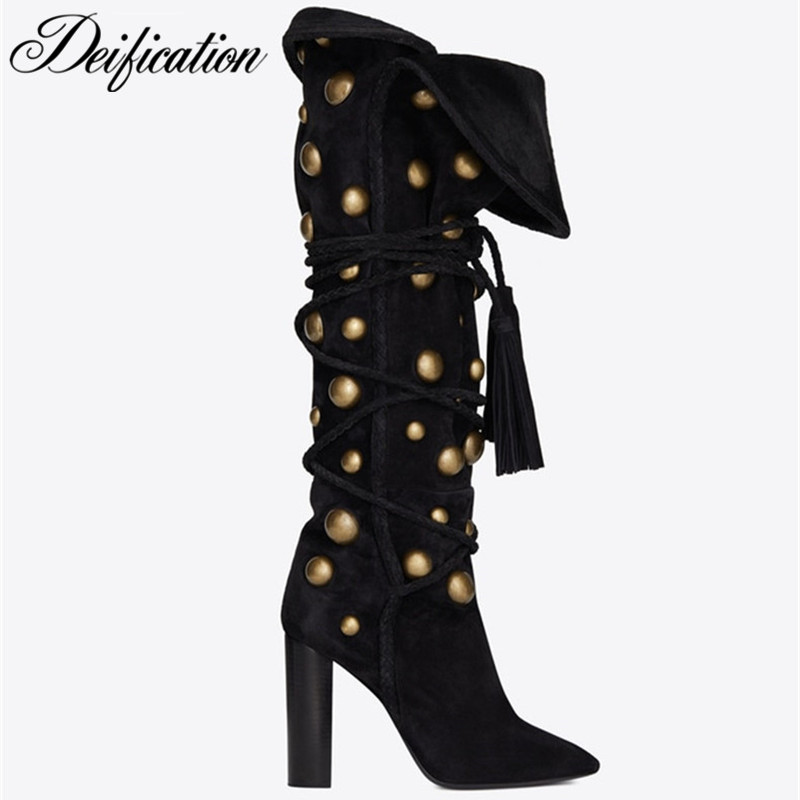 New Black Suede Winter Boots Women Metal Studded Motorcycle Boots Fashion Cross-Tied Botas Mujer Invierno Tassel High Heel Boots