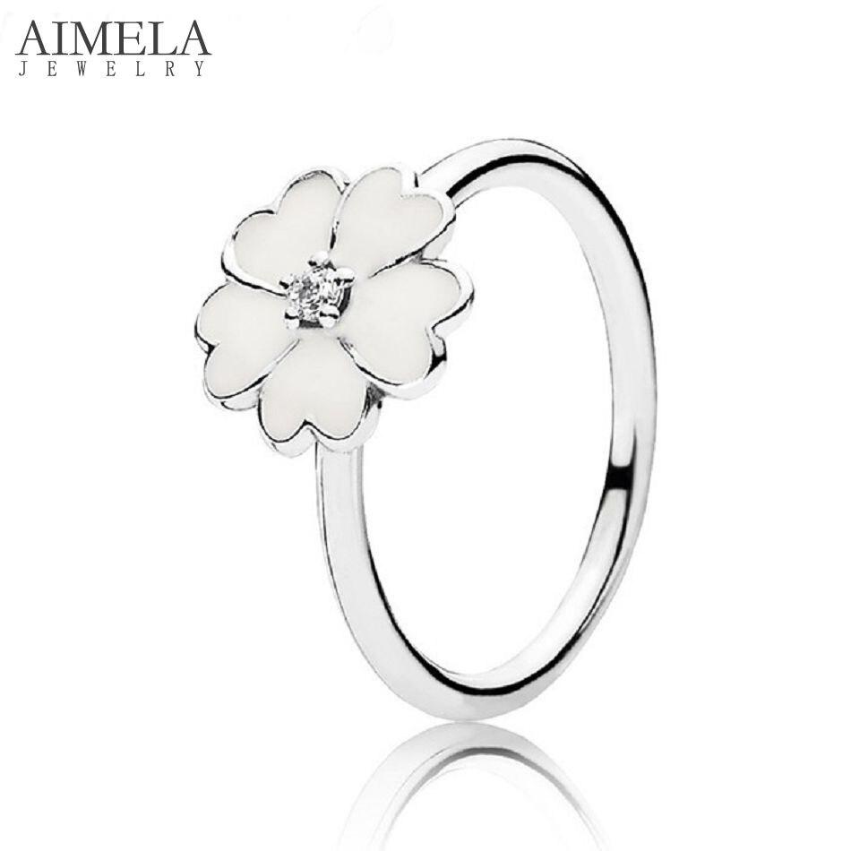 Aimela White Enamel & Clear Cz Primrose Rings For Women Real  925sterling