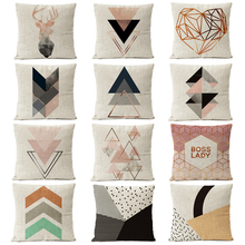 Nordic Copper Gold Geometric Christmas Pillow Cover Deer Linen Cushion Cover Home Decorative Throw Pillows sofa Pillow Covers цены