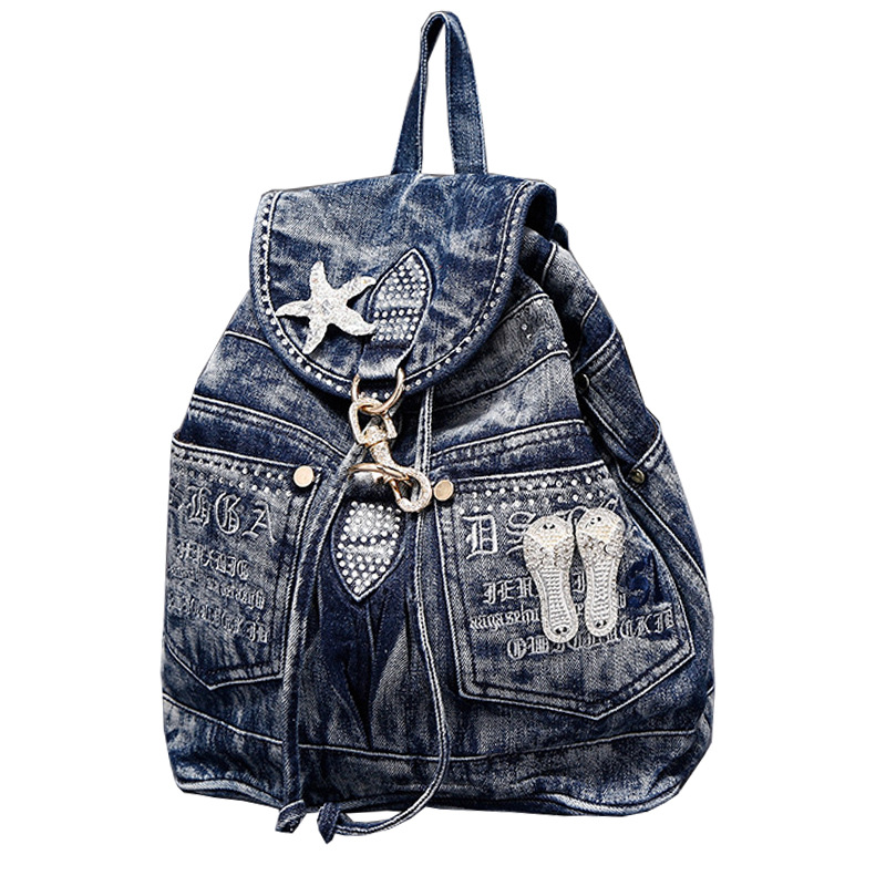 2019 nouveau sac à dos en Jean pour femmes avec diamants et loisirs cartables sac à dos de voyage en Denim Andb sacs à bandoulière C075