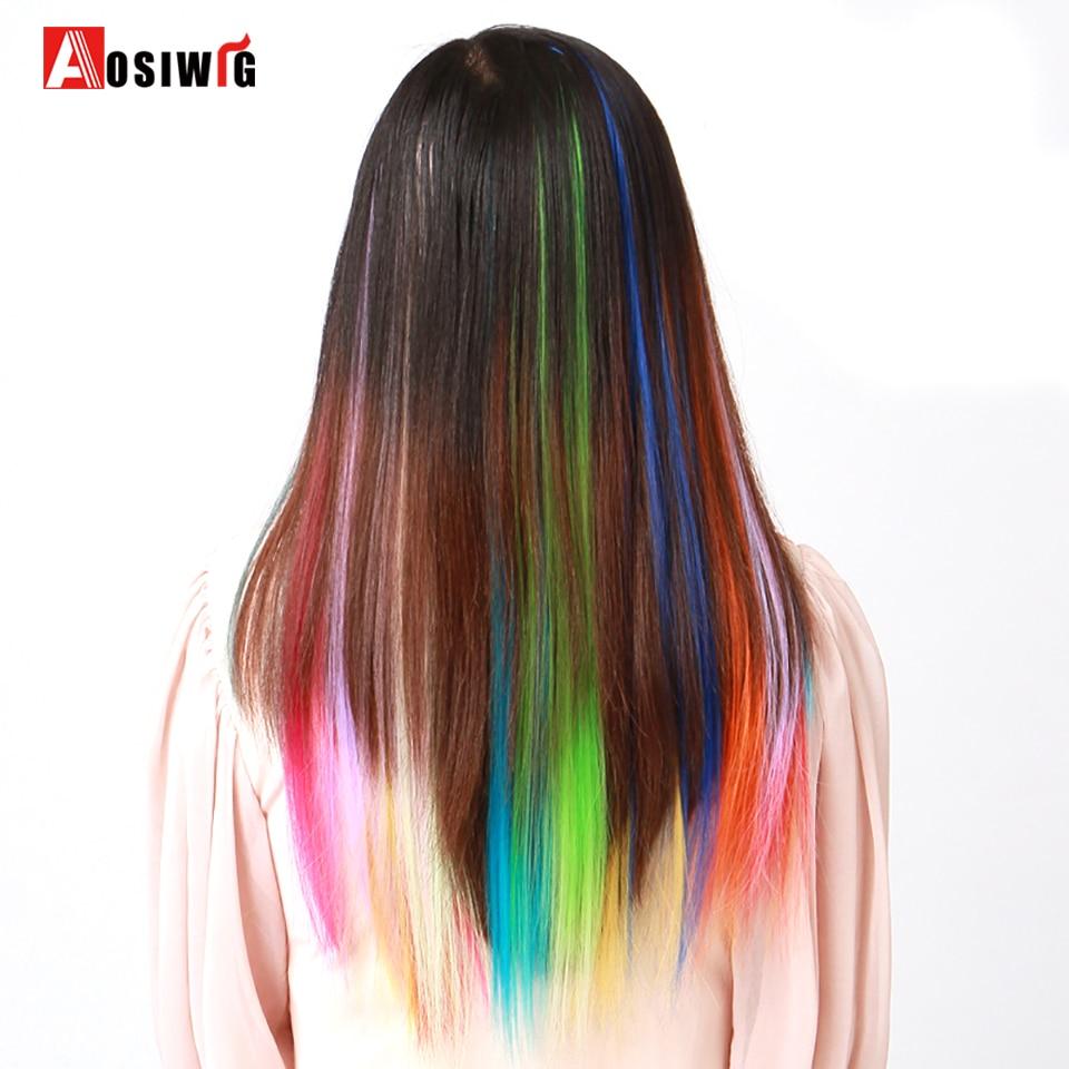19 Цвета 50 см один клип в Одна деталь Наращивание волос Синтетические длинные прямые Ombre серый русый красный части волос AOSIWIG ...