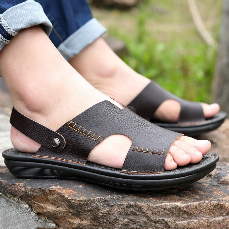 Men Sandals Shoes Flip-Flops Black Genuine-Leather Summer High-Quality Sewing Male