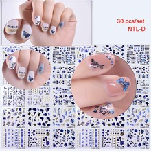 hot-sell 30pcs glitter butterfly nail tattoo sticker 3D Nail Art Gel Decoration Fashion Sticker,3D Custom Stickers