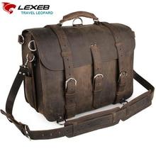 "LEXEB Brand Vintage Men's Top Quality Full Grain Leather Briefcase / Shoulder Bag / Messenger Bag / Satchel Fit 17"" Laptop"