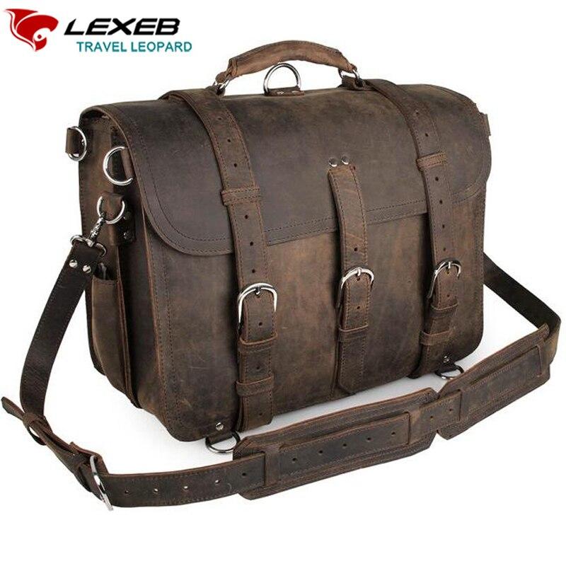 Lexeb бренд Винтаж Для Мужчин's Одежда высшего качества из натуральной нешлифованной кожи Портфели/сумка Fit 16 ''ноутбук