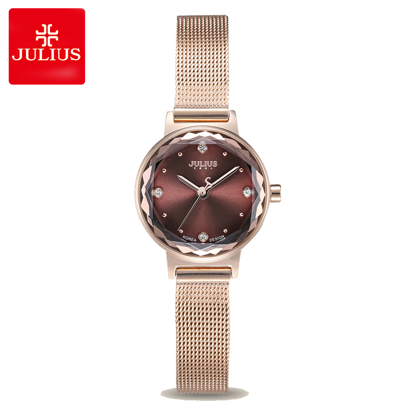 Small Stainless Steel Simple Cutting Glass Women's Watch Japan Quartz Hours Fashion Clock Girl's Birthday Gift Julius Box new simple cutting glass women s watch japan quartz hours fashion dress stainless steel bracelet birthday girl gift julius box