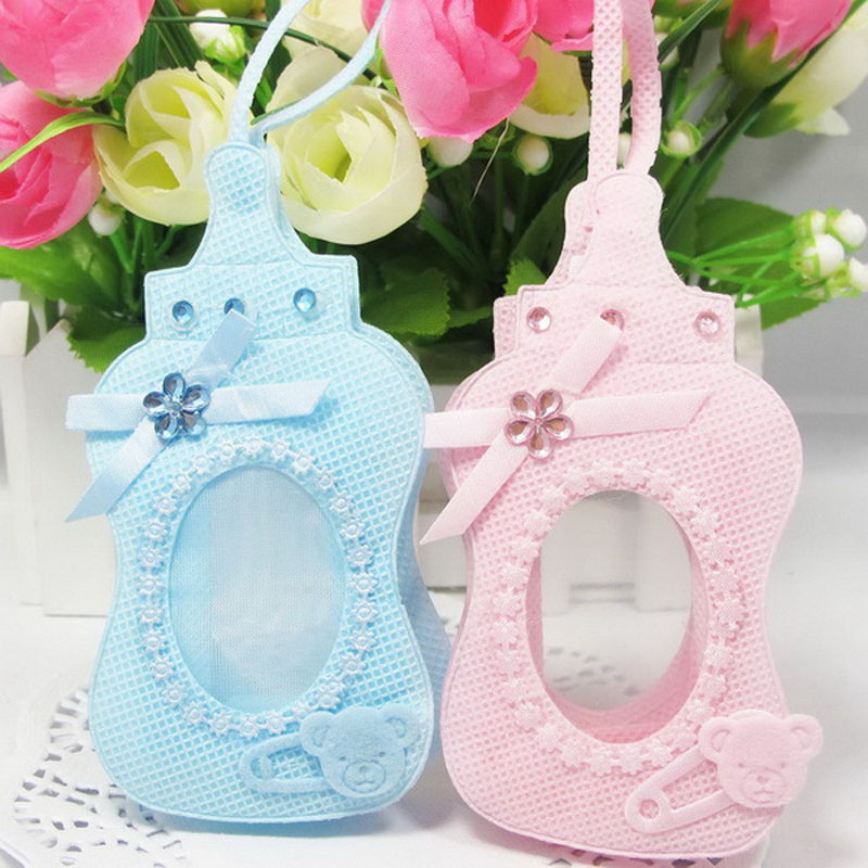 120pcs/lot Baby Shower Favor Bags Gifts Candy Box Feeding Bottle Style With Handle For Guest Party Decoration ZA4503