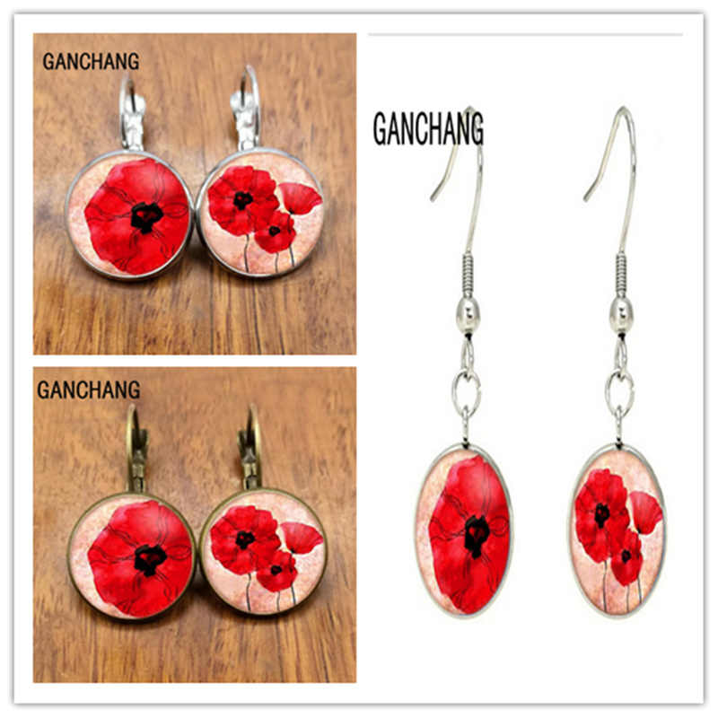 Liontin Anting-Anting, Cabochon, Poppies Sederhana Anting-Anting, Poppies