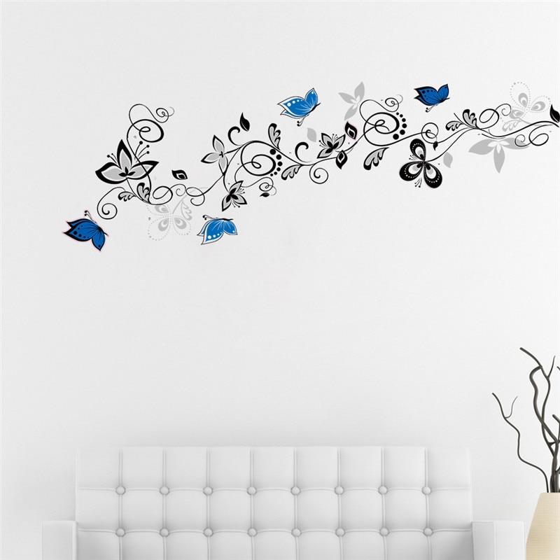 Aliexpress Com Buy Flower Vine Blue Butterfly Wall